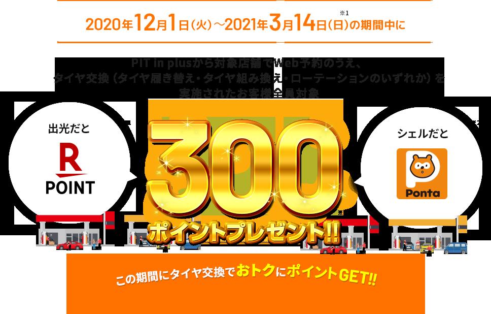 2020年12月1日(火)~2021年3月14日(日)の期間中にPIT in plusから対象店舗でWeb予約のうえ、タイヤ交換(タイヤ履き替え・タイヤ組み換え・ローテーションのいずれか)を実施されたお客さま全員対象に300ポイントプレゼント